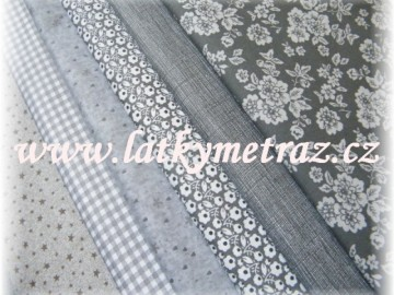 balíček látek šedý -6  x 50 cm