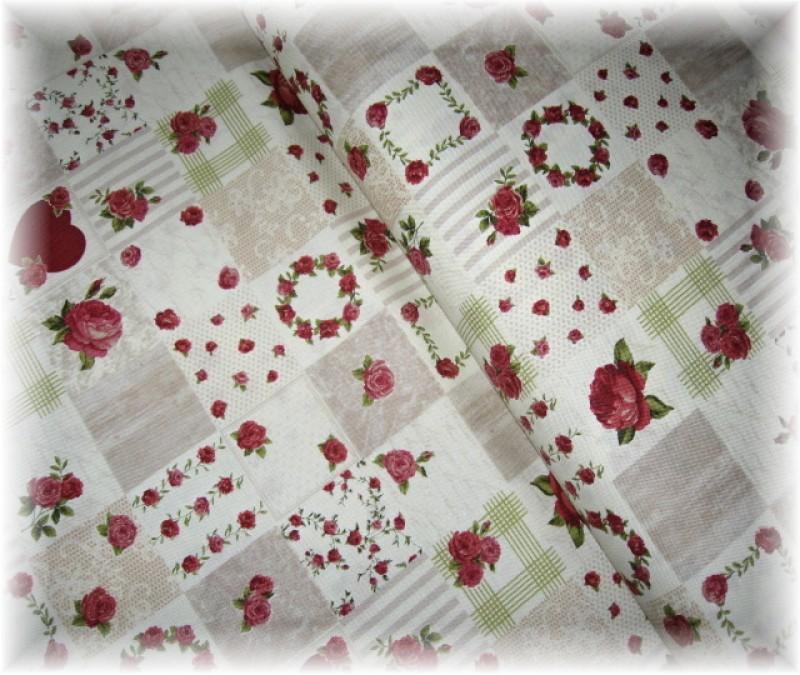 Stof-vínový růže v kostičkách
