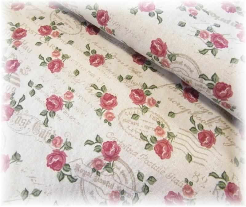 pevná látka-nápisy + růže