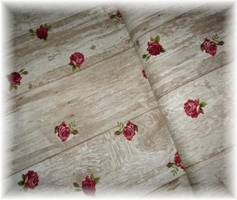 Stof-vínový růže na béžovém-zbytek 40 cm