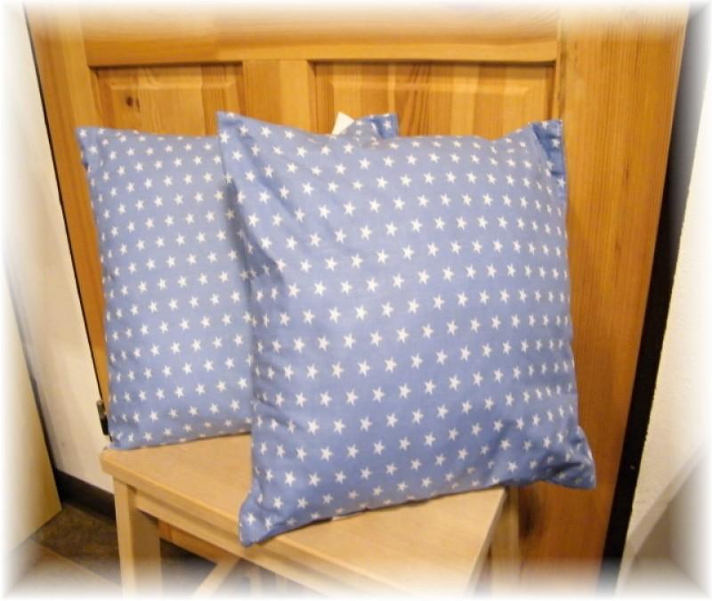polštář-bílé hvězdičky na modrém
