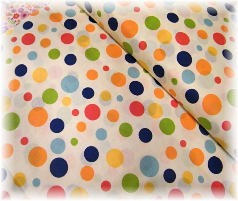 barevné puntíky na smetanové-zbytek 20 cm