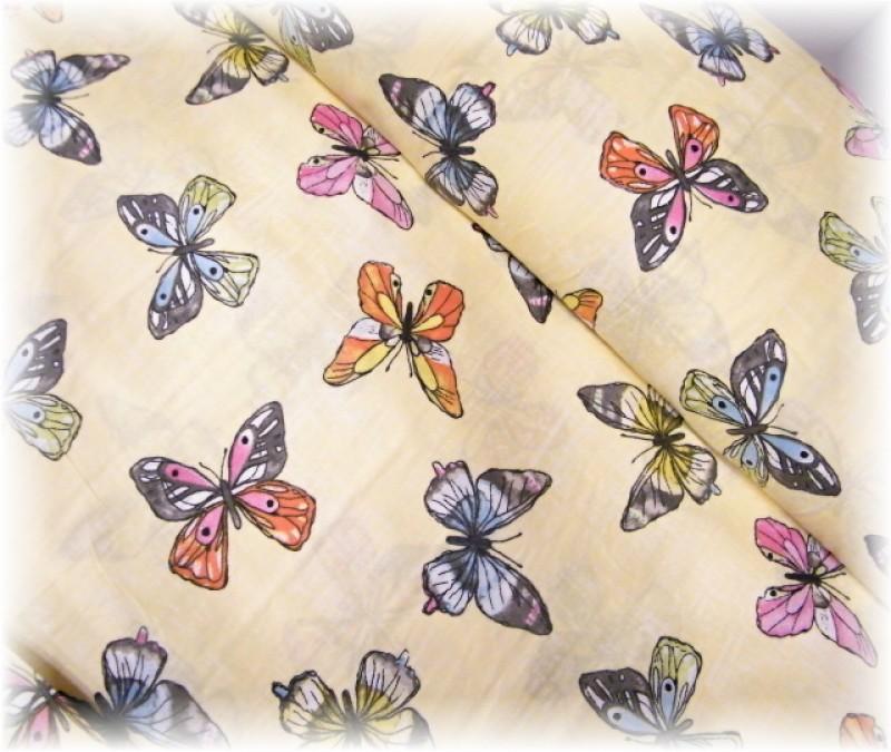 motýli na žlutém-zbytek 1,10 m
