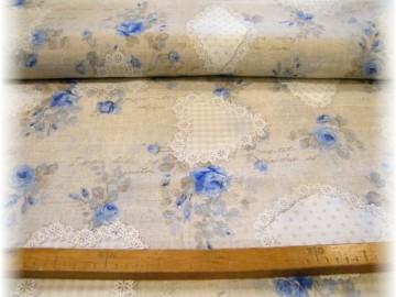 pevná látka-srdíčka modré-zbytek 80 cm