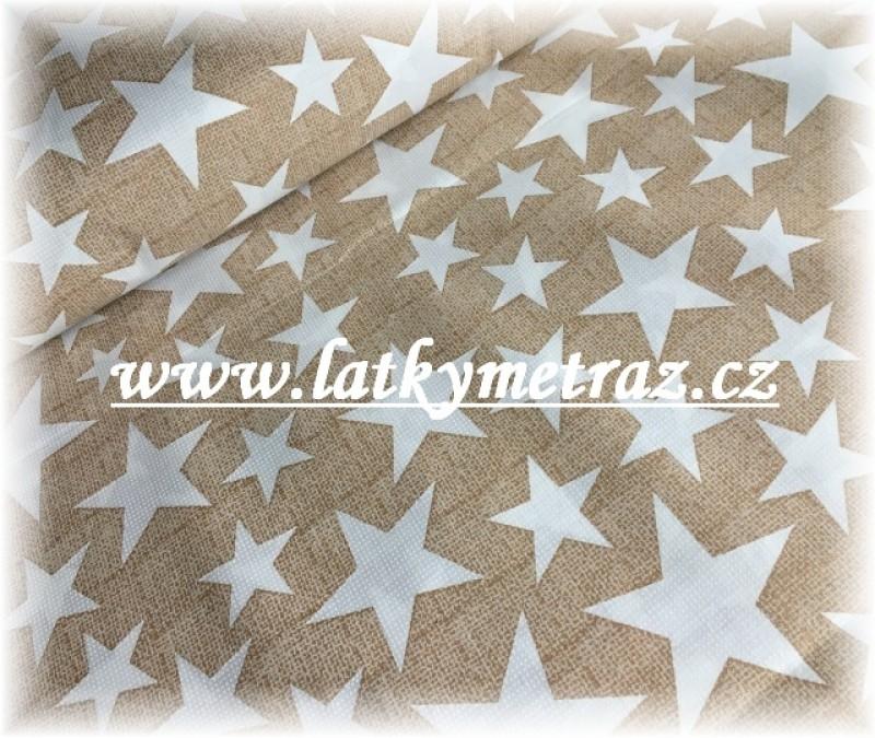 hvězdy na béžovém-zbytek 90 cm