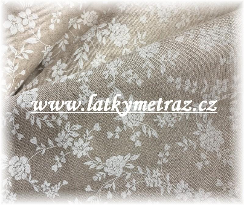 pevná látka-bílé kytičky
