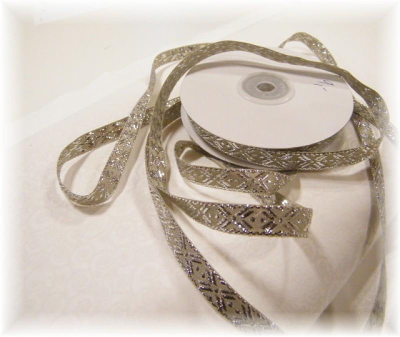 stuha s lurexem stříbrná šíře 10 mm