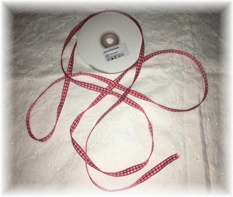 károvaná stuha 7 mm-červená