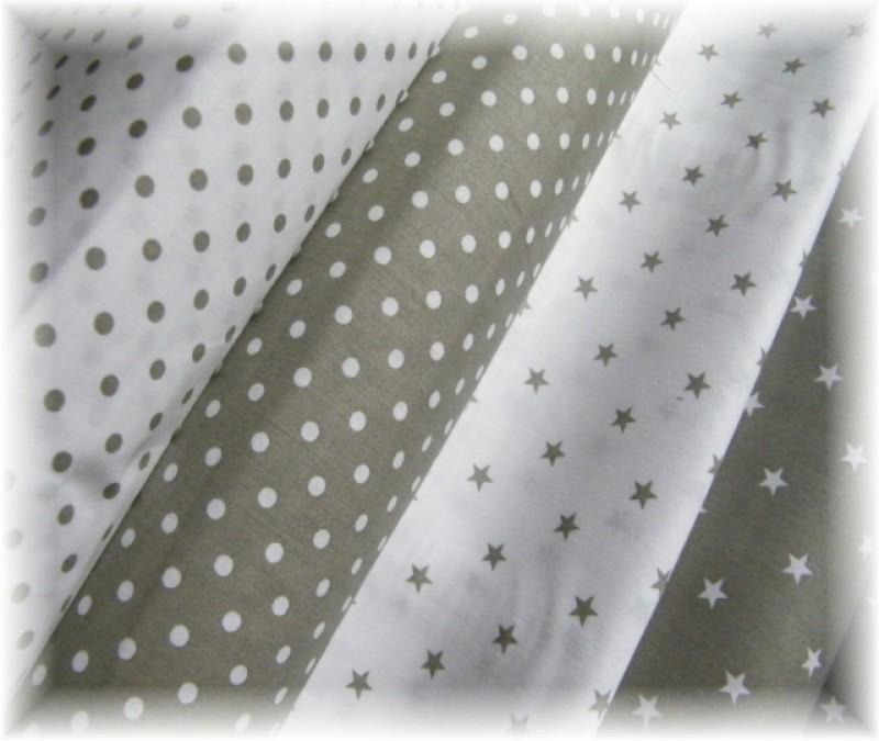 bílé hvězdičky na khaki-zbytek 50 cm
