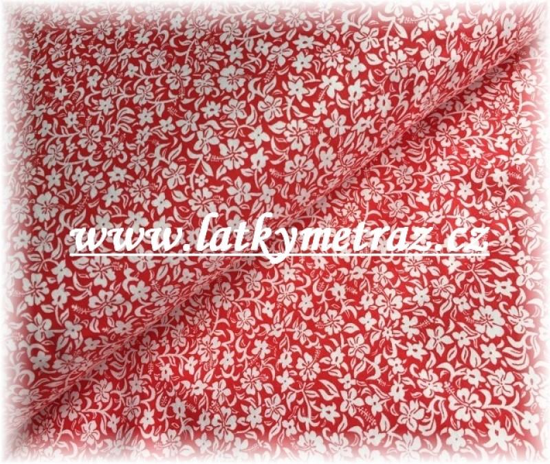 kytičky na červené-zbytek 80 cm
