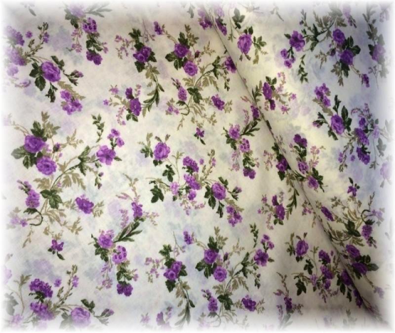 fialkové růže na smetanovém-zbytek 49 cm