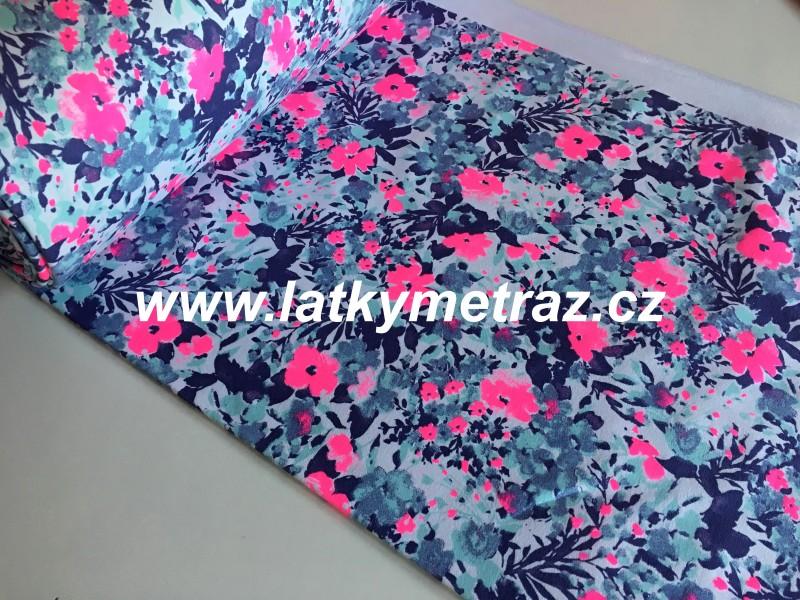 teplákovina květinový vzor č.2-zbytek 40 cm