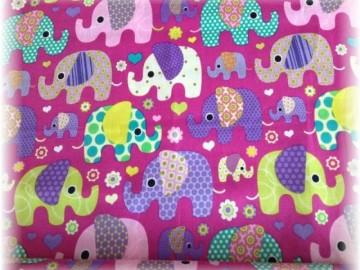 100% bavlna-sloni na fialovém