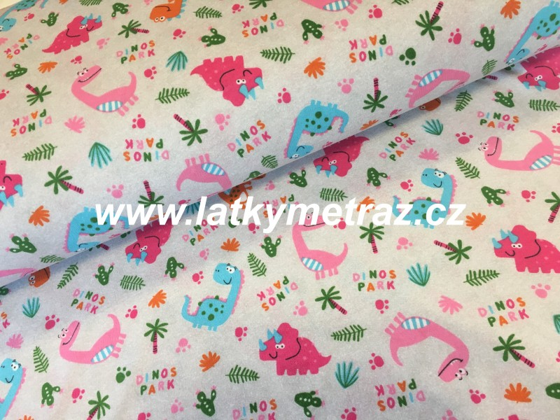 100% bavlněný úplet-růžový dino na šedém