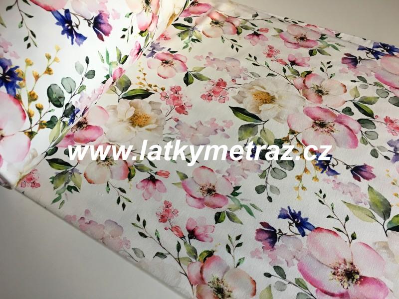 teplákovina květiny-zbytek 60 cm