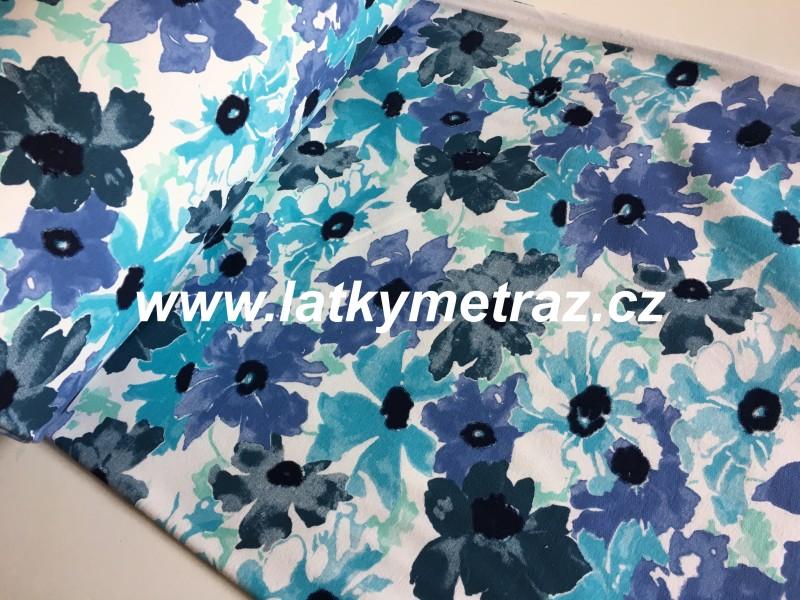 teplákovina barevný květ modrý