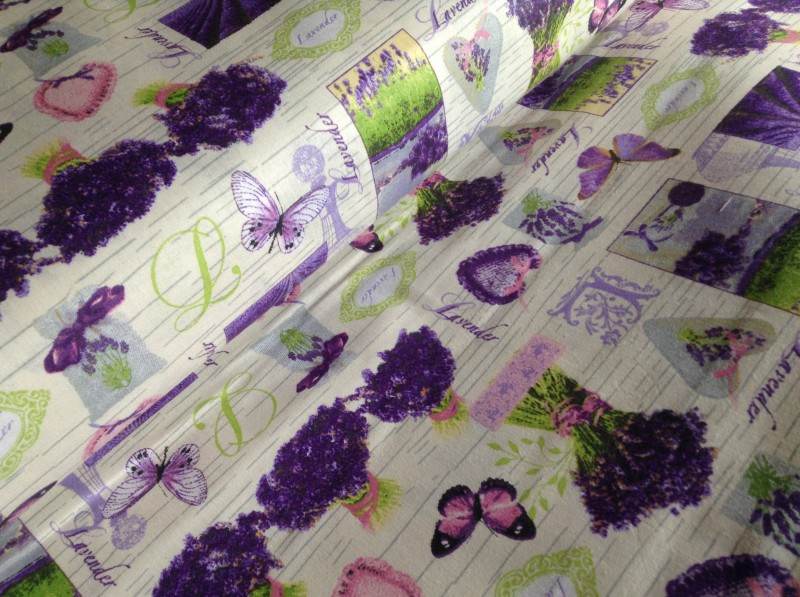 nové vzory s levandulí-zbytek 70 cm