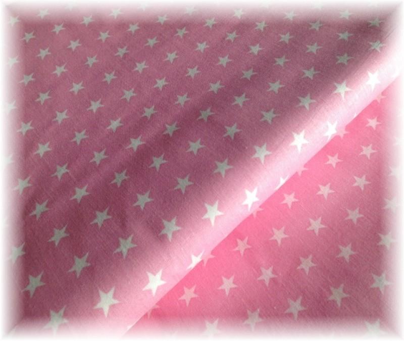 bílé hvězdičky na růžové-zbytek 65 cm