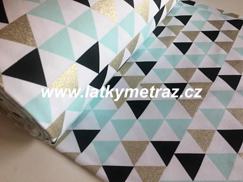 teplákovina s trojúhelníky-zbytek 55 cm