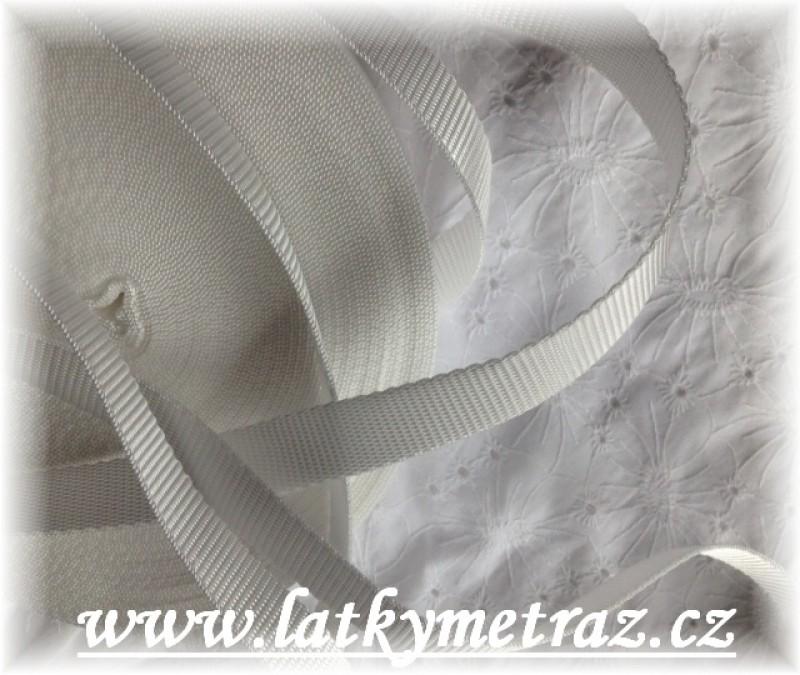 popruh bílý šíře 25 mm