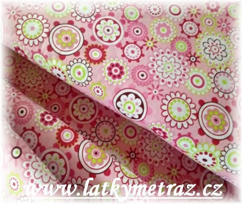 růžové nové kytičky-zbytek 93 cm