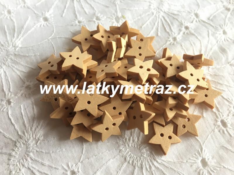 dřevěný knoflík-hvězda velikost 30