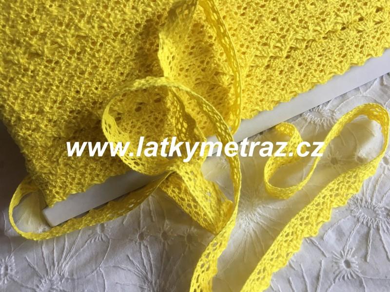 bavlněná krajka šíře 15 mm-žlutá