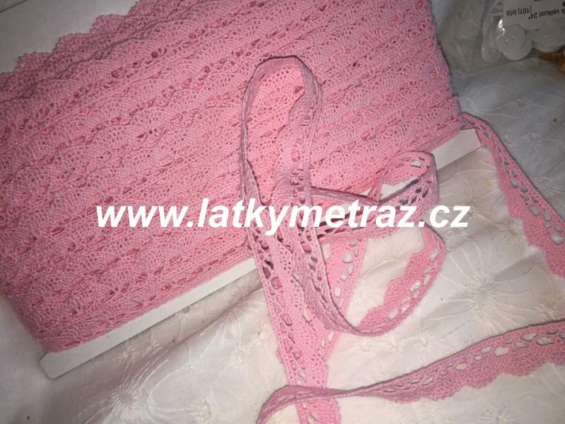 bavlněná krajka šíře 15 mm-růžová