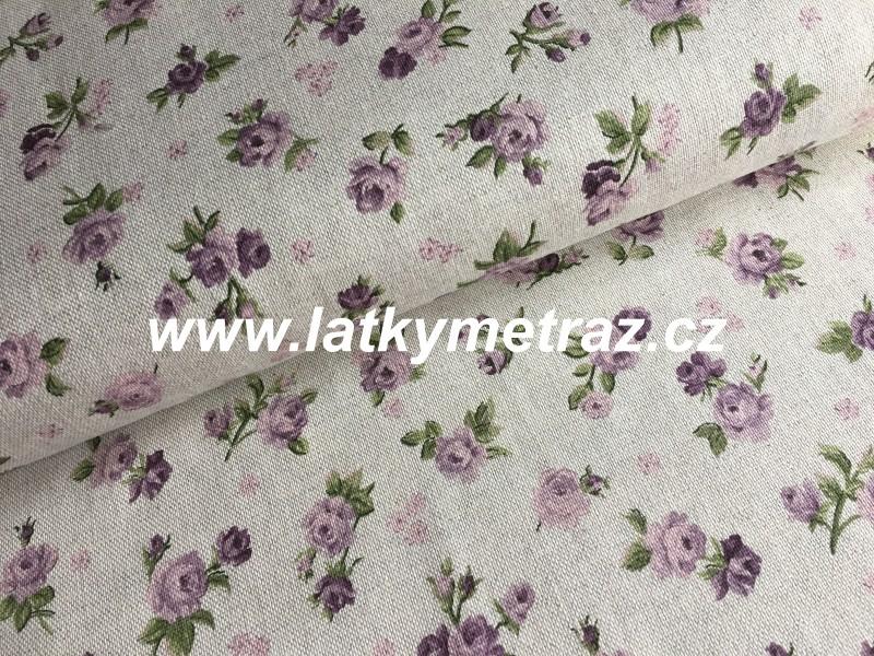 pevná látka-lila růžičky