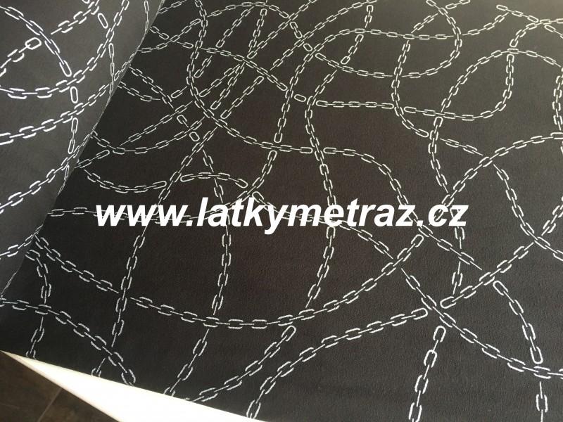 teplákovina stříbrné řetízky na černém-zbytek 25 cm