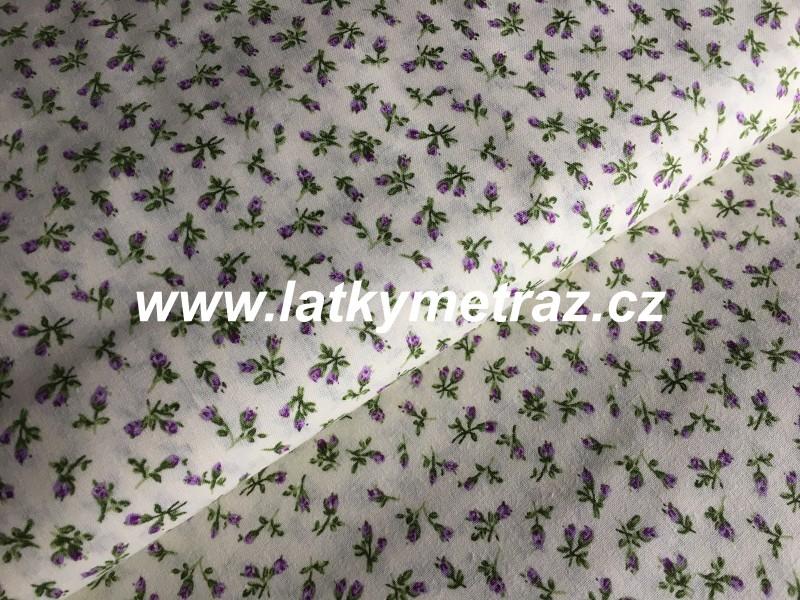 drobná lila kytička na smetanovém