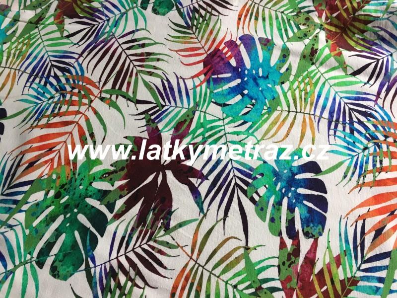 teplákovina-palmové listy na bílém-digitální tisk