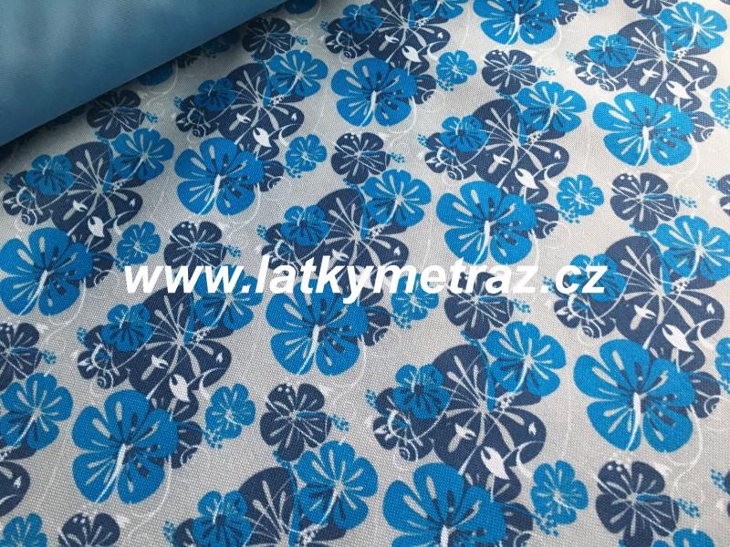batohovina-cordura s PVC zátěrem-modré kytky