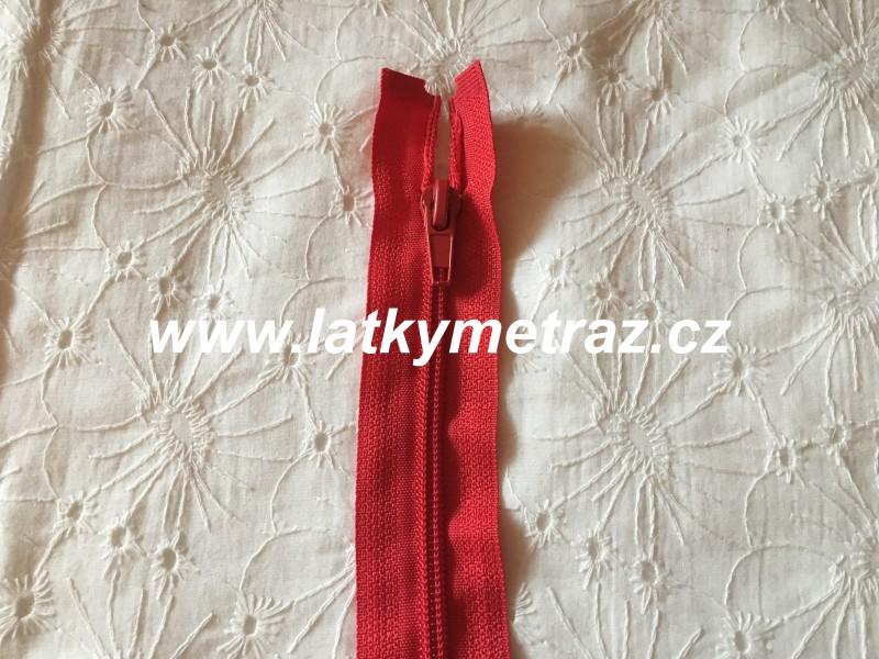 zip spirálový dělitelný 40 cm-červený