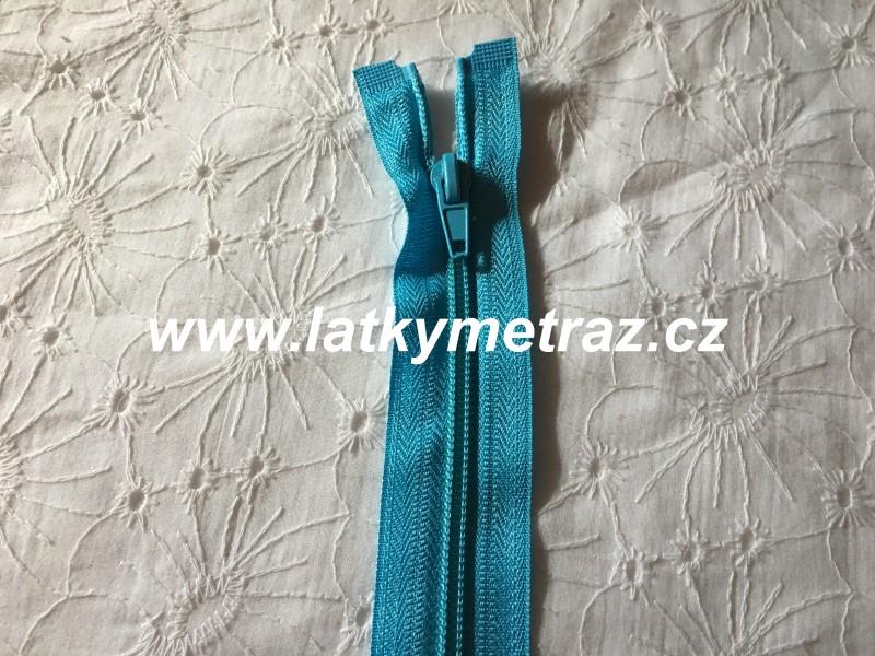 zip spirálový dělitelný 40 cm-tyrkys