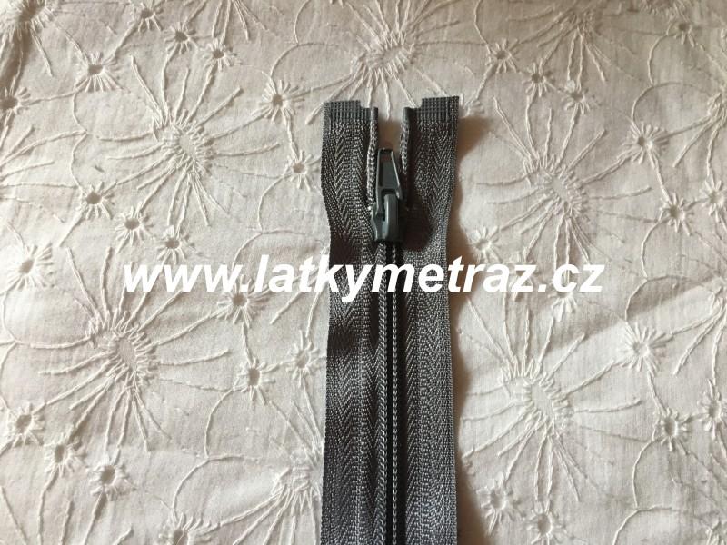 zip spirálový dělitelný 65 cm-šedý