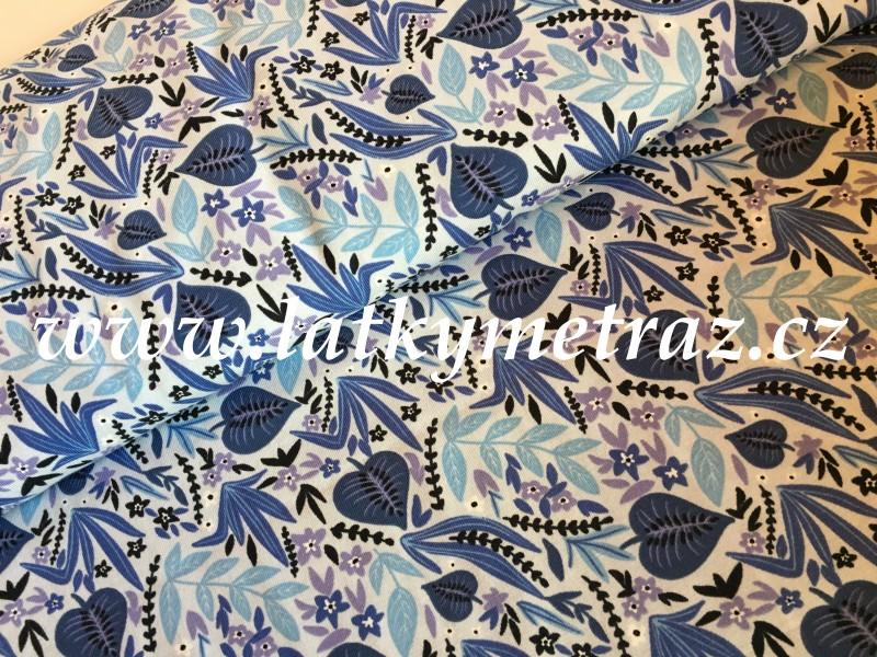 úplet-listy modré č.1-zbytek 85 cm