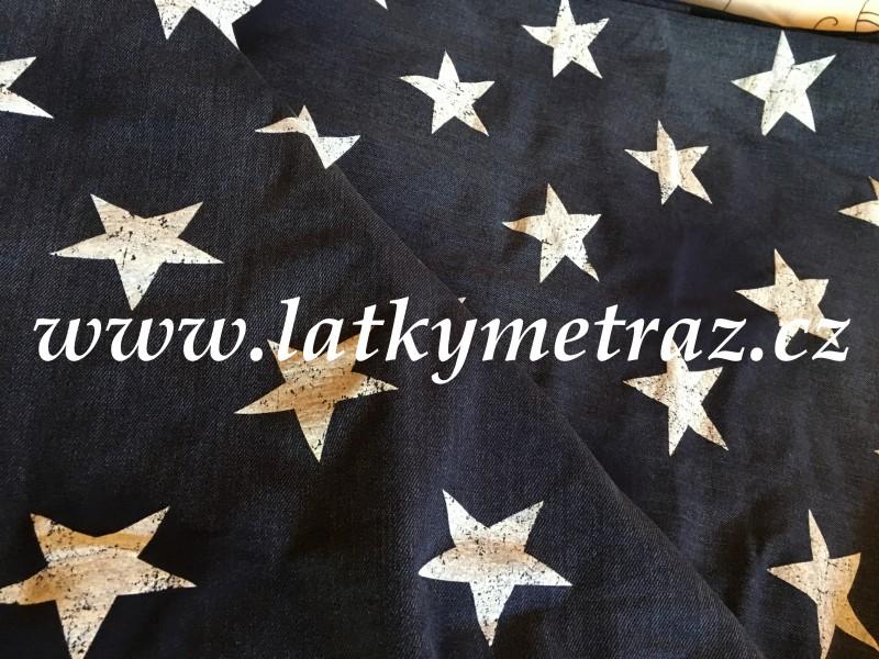 úplet tmavý denim s bílými  hvězdami-zbytek 20 cm