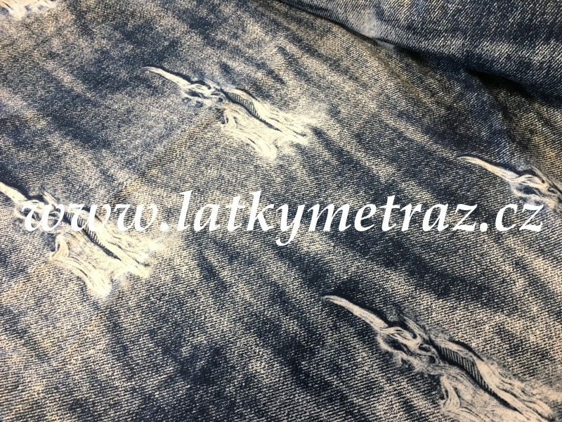 teplákovina-jeans s natištěným efektem děr