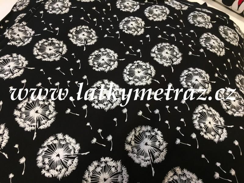 teplákovina-černá s bílými pampeliškami-zbytek 55 cm