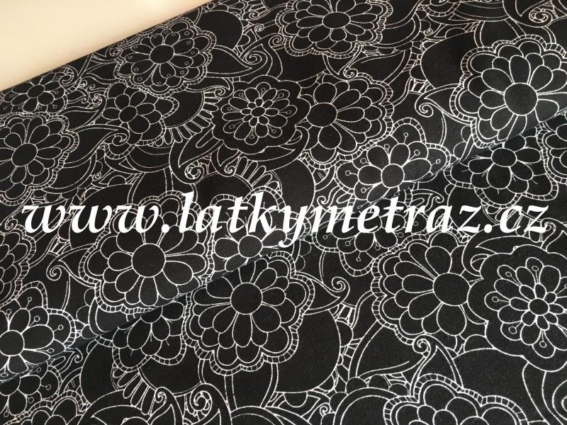 úplet-květy na černém-zbytek 38 cm