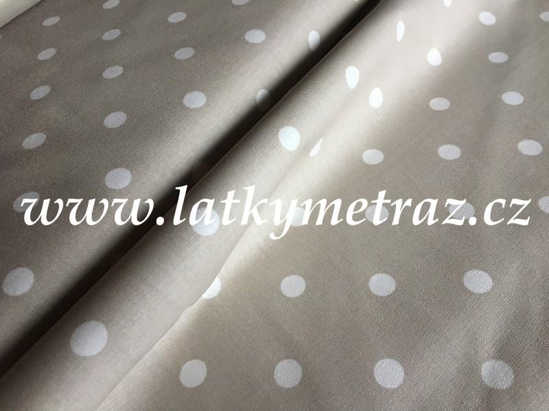 puntíky na šedo-béžové-zbytek 67 cm