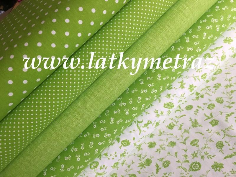 jarní kolekce zelená-bílá kyti na zelené-zbytek 53 cm
