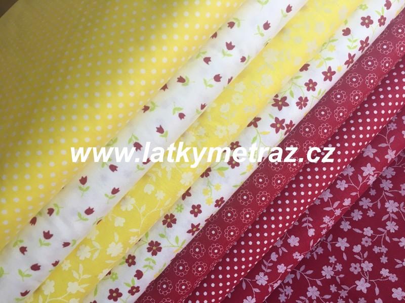 červeno-žlutá kolekce-bílá kyti na žluté-zbytek 1 metr