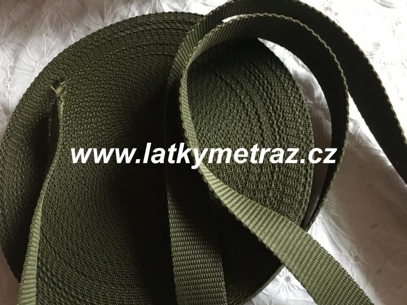 popruh tmavě zelený šíře 25 mm