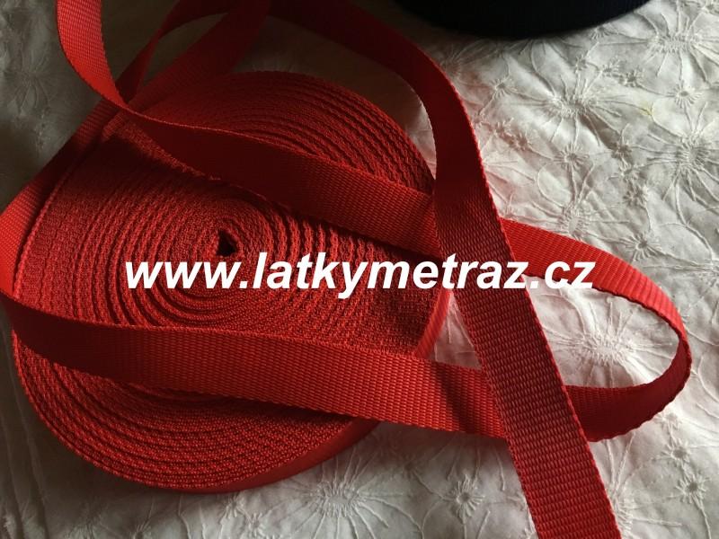 popruh červený  šíře 25 mm