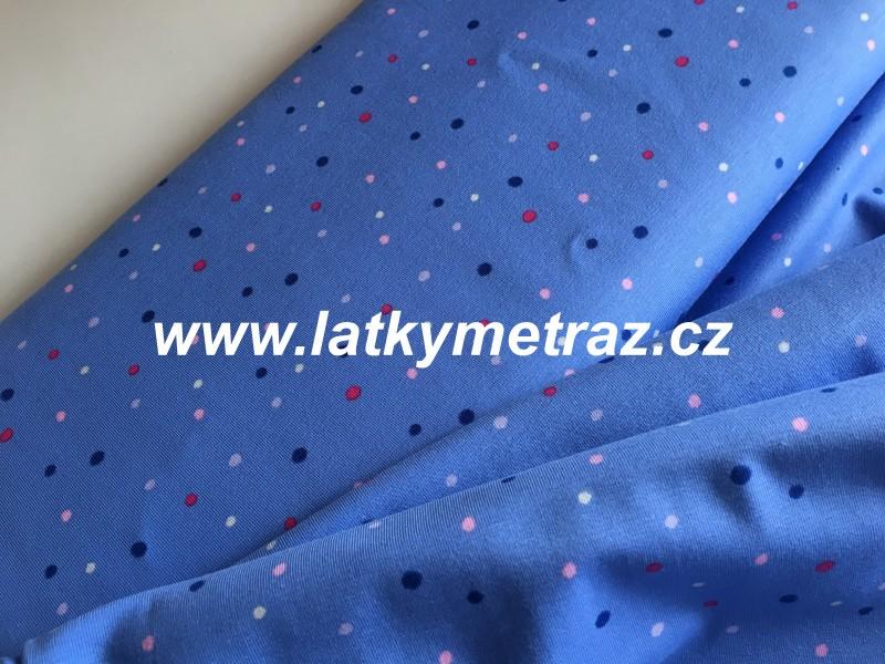 Jersey úplet-puntík modrofialový