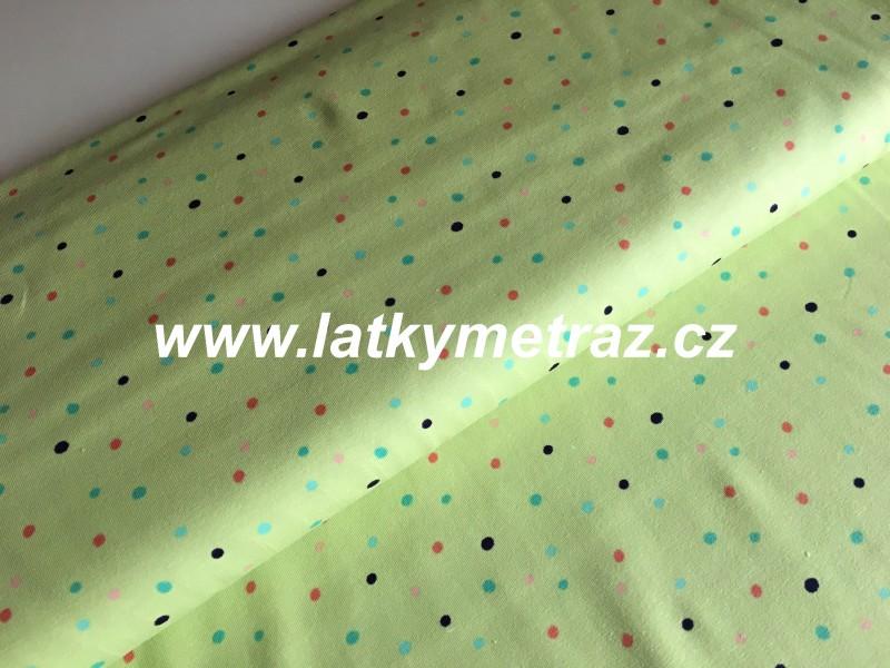 Jersey úplet-puntík zelenožlutý