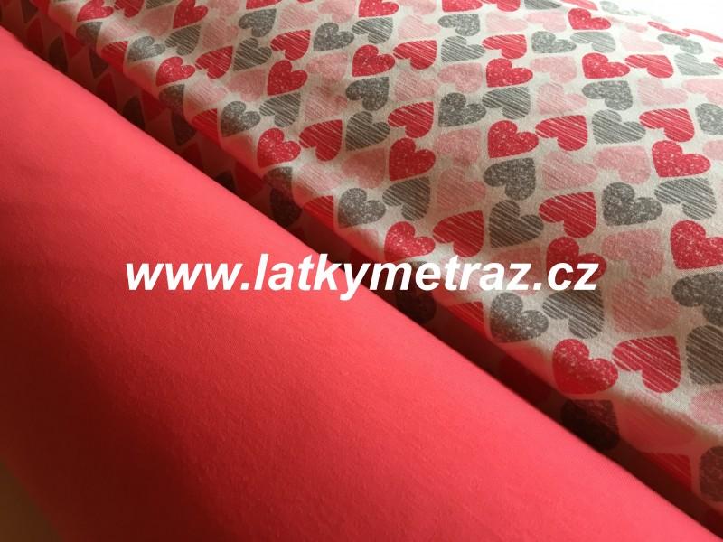 100% bavlněný úplet-růžovolososový  jednobarevný