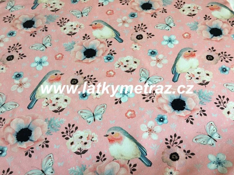 teplákovina-ptáčci na růžovém-zbytek 55 cm